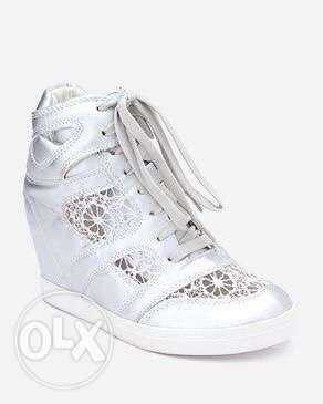 Silver and Lace wedge shoes