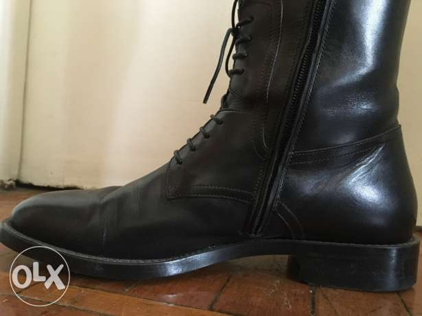 Black leather Boss boots 2015, only worn twice وسط القاهرة -  2
