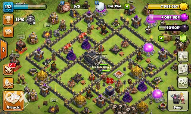 Clash if clans th9 max qween 30 king 29