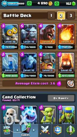 clash royal level 10 arena 10 w 5legendry cards