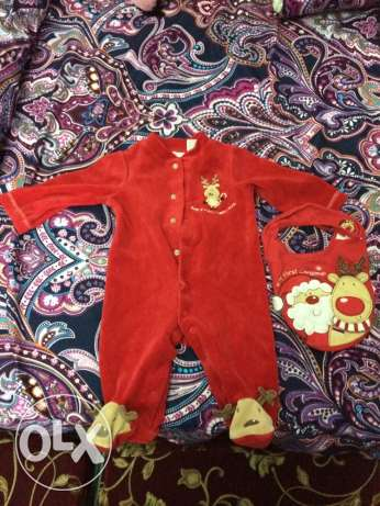 baby Christmas outfit with musical bib