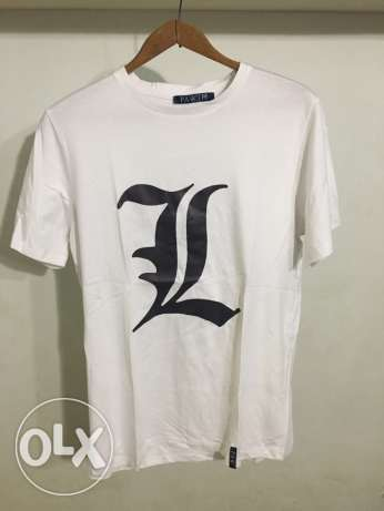 L from Death Note printed Anime tshirt