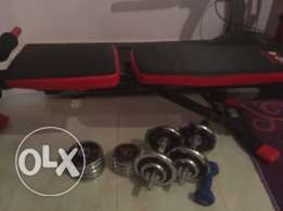 Fitness bench & Dumbells
