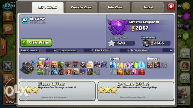 Coc, th9 max clash of clans 3000 gems change village name