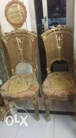 2 old antique small chairs with very very old belgium goblin