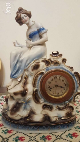 JUNGHANS clock antique with bisque porcelain angel انتيك