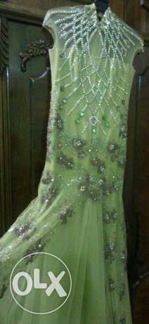 Original Swaroviski greenapple handmade dress for designer AhmadElQaad
