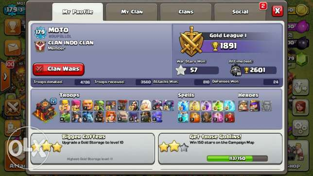 Clash Of Clans lvl 180, TH 10, Max 100% Heroes /Walls/Troops شبرا -  2