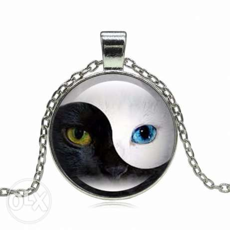 Cat Pendant Necklace Personality Blue Cat Eye Silver Glass Dome Round