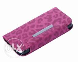 Samsung Galaxy S4 - Pink leopard Leather Wallet Pouch Hard Case