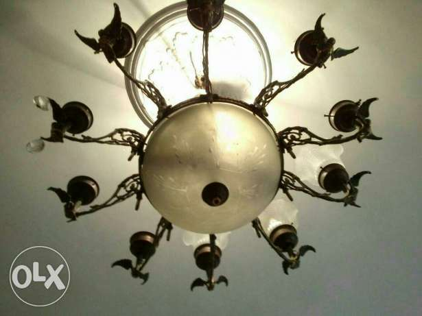 old egyption bronz chandelier very elegant 10 arms very heavy