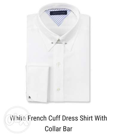 Tommy hilfiger white french cuff dress shirt with collar bar for sale
