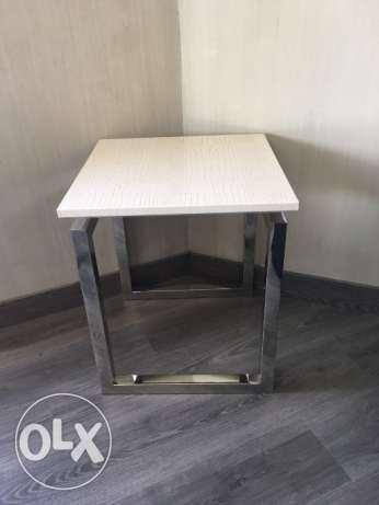 2 Rare White Leather Side Tables