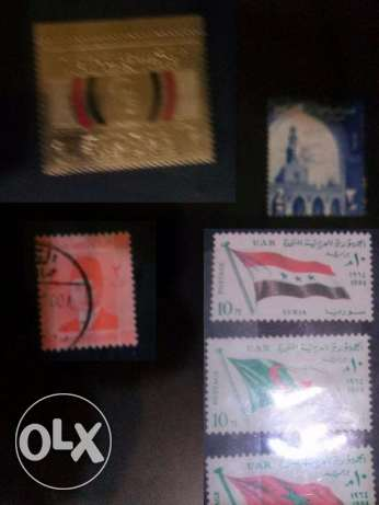 Collection of old stamps, coins and money notes