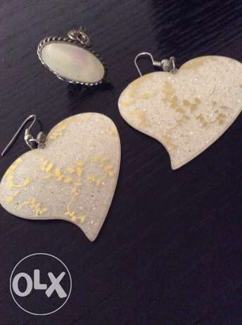 Collection White Ring & Earring طقم حلق و خاتم
