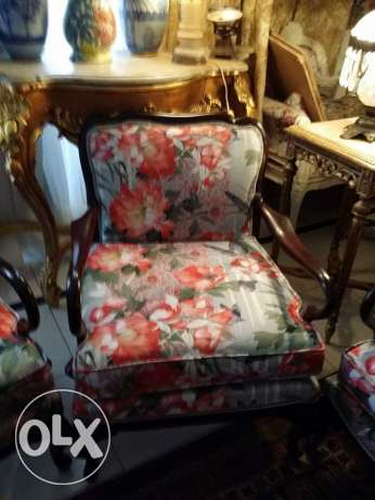 old art deco set sofa and 2 chairs, renovated by nice fabric