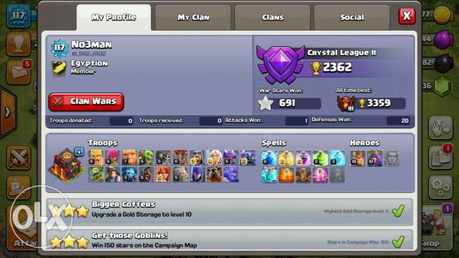 Acc clash of clans leader of clan lvl 6 5 builders w 2900 gems town 10