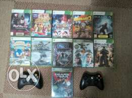 Xbox 360 slim with kinect , 2 controllers and 15 games