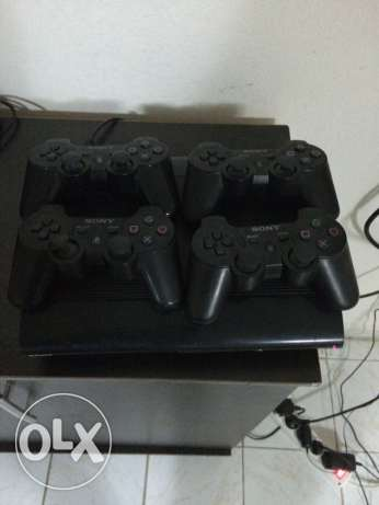 ps3 with for console and 4 games (fifa16 , gt5 , midnight and driver )